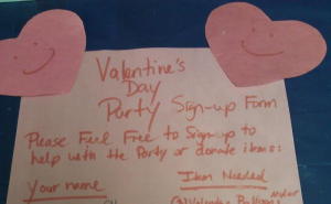 valentines day party sign-up sheet
